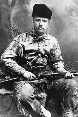 New 5x7 Photo: Future President Theodore Roosevelt in Deer Skin Suit, 1885