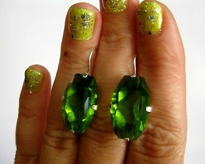 Shining GREEN stones Earrings Silver 875 USSR Antique Awesome!