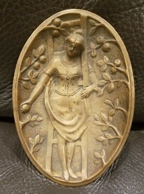 Vintage Brass Risque Woman 2 Sided Tray Dish Card Receiver Exposed Butt Ashtray