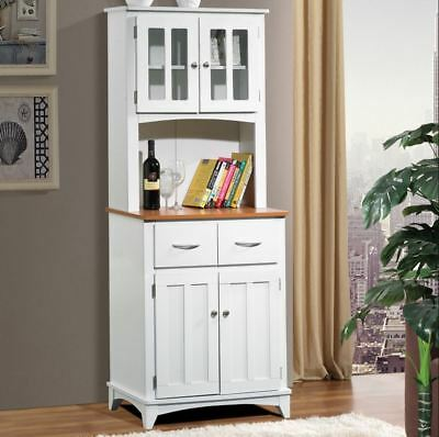 Kitchen Bar Hutch Buffet Table Small China Cabinet Storage Pantry Drawers  White