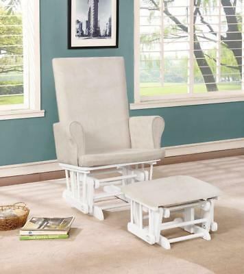 Naomi Home Mateo Wood & Upholstered Glider and Ottoman Set White Cream