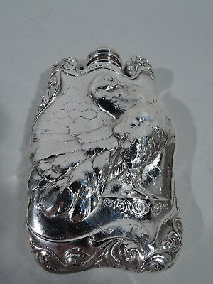 Antique Flask - 5345 - Art Nouveau Turkey Bird Fowl - American Sterling Silver
