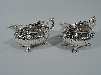 Whiting Gravy Boats - 1214 - Antique Georgian Sauce - American Sterling Silver