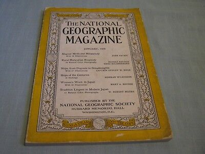 VINTAGE NATIONAL GEOGRAPHIC January 1938 HUNGARY Dugouts to Dreadnoughts JAPAN