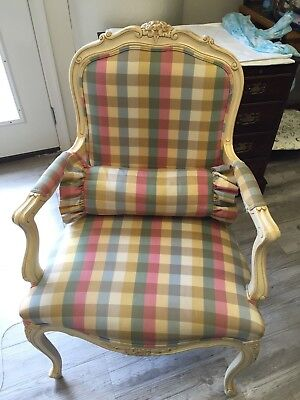 Ethan Allen Country French Arm Chair Ivory White Wood Pink Green Plaid