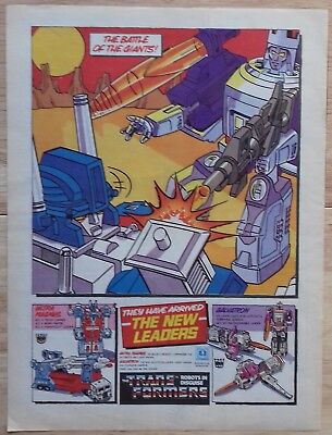 UK Transformers Comic Advertising Poster / G1 New Leaders