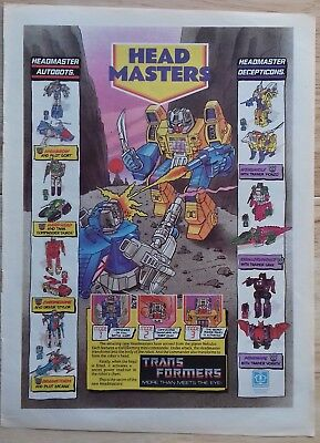 UK Transformers Comic Advertising Poster / Headmasters
