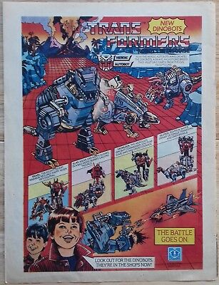 UK Transformers Comic Advertising Poster / Dinobots