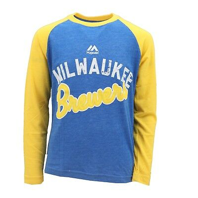 Milwaukee Brewers Official MLB Majestic Kids Youth Size Long Sleeve Shirt New