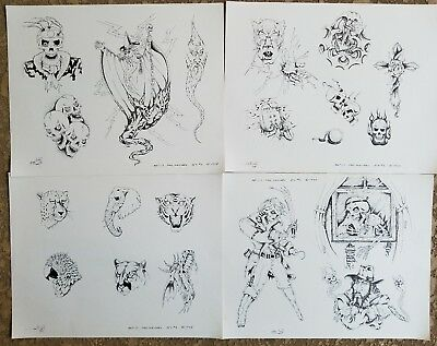 vintage NOS '88 produx paul massaro (4) tattoo flash TX shop: freaky biker skull
