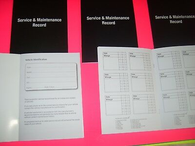 Universal Blank Service History Record Log Book Suitable for Any Make or Year
