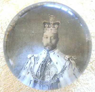 Antique Early 1900s Paperweight King George V Coronation Day Souvenir