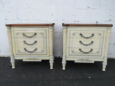 Pair of Large French Distressed Painted Parquet Nightstands End Side Tables 9060