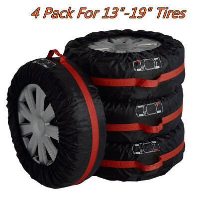 """4PCS 13-19"""" Car SUV Spare Tyre Tire Wheel Protect Cover Storage Bag Carry Tote S"""