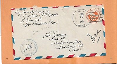 WW II MILITARY COVER 1st BN 5th MARINES 1944 CENSORED US NAVY