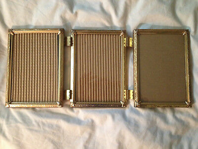 Vintage Photo / Picture Frame Tri-Fold Hinged Embossed Gold Tone Metal 5 x 7's