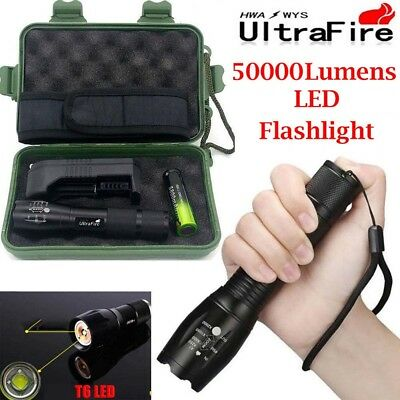 Tactical Light 50000LM Power T6 LED Flashlight Zoomable Torch+18650+Charger