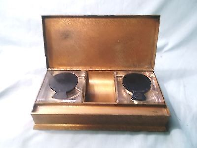 Vintage Bronze Silvercrest Double glass Inkwells With Art & Crafts Design Box