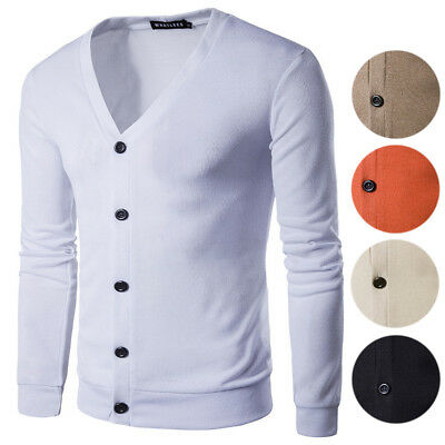 Men's Button V-Neck White Cardigan Long Sleeve Casual Knit Sweater 5 Colors