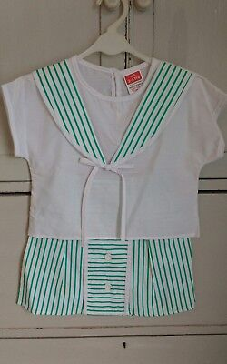 Vintage Girls Sailor Suit Nautical Green White Stripe Dead Stock 3-4 yrs