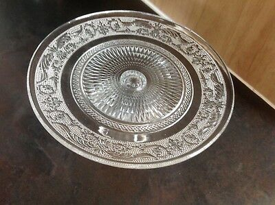 "Clear Glass Footed Scroll Design Cupcake/cake Stand ""free Postage"""
