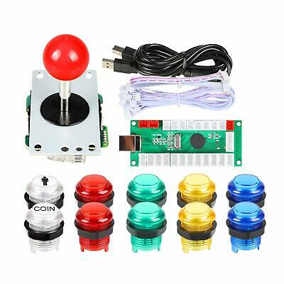 Arcade Joystick DIY Kit Red Stick LED Illuminated Buttons Mame Raspberry Pi 2 3