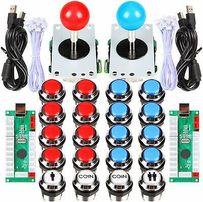 2 Player Arcade Contest DIY Retropie Cabinet Kits Joystick + Chrome LED Buttons