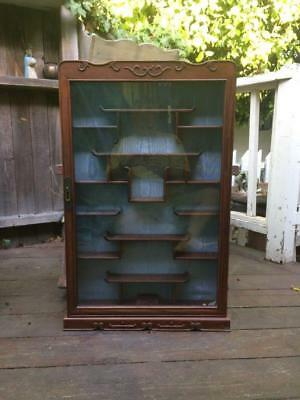 Vintage Display Case Wall Mounted Wood Asian