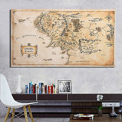 43''x24'' Map of Middle Earth Lord Of The Rings Silk Cloth Poster Art Home Decor