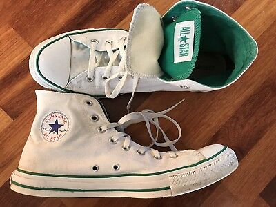 Converse Chuck Taylor Unisex All Star High Top Shoes - White/Green - M12 / W14