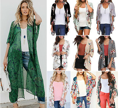 Womens Kimono Blouse Coat Boho Floral Cardigan Jacket Tops Beach Bikini Cover Up
