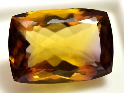 VVS 30.70 Ct 100% Natural Yellow & Purple Ametrine AGSL Certified Cushion Gem