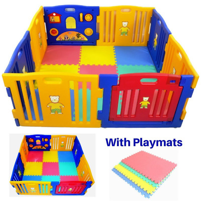 Millhouse Plastic Baby Playpen with Activity Panel Play Mats Included XIHE0005