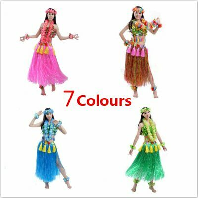 5pcs/8pcs Adult Hawaiian Luau Grass Elastic Hula 80cm Skirt Fancy Dance Dress