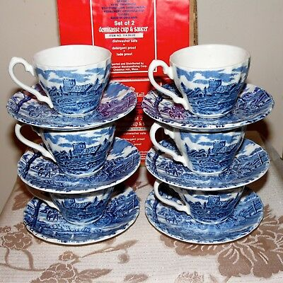 STAFFORDSHIRE ROYAL MAIL Demitasse Cup & Saucer set of 6 NOS w/ boxes #114 blue