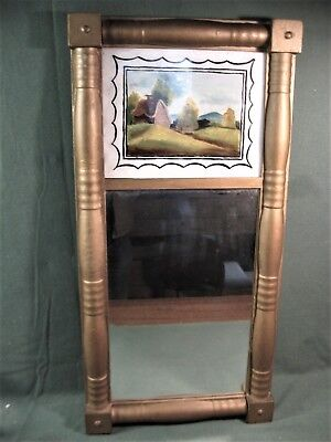 ANTIQUE SHERATON MIRROR w/HAND-PAINTED TABLET-