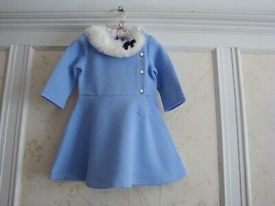 NWT $59 Janie And Jack Girls Faux Fur Quilted  Dress  2 2T  Blue