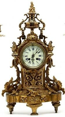 Ca.1920 Antique FRENCH LOUIS XV Style BRONZED Floral ORMOLU Old MANTEL CLOCK