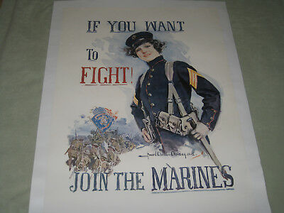 "Rare Original Wwi Recruiting Poster ""if You Want To Fight Join The Marines!"""