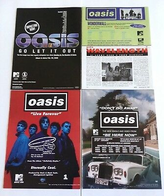 Oasis Original Promo Ad Clippings Lot Of 4 Thick Rare Magazine Ads