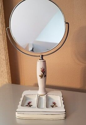 "Vintage Japan Moss Rose Ceramic Base Mirror/magnifyer 10 1/2"" Tall Stores Clips"