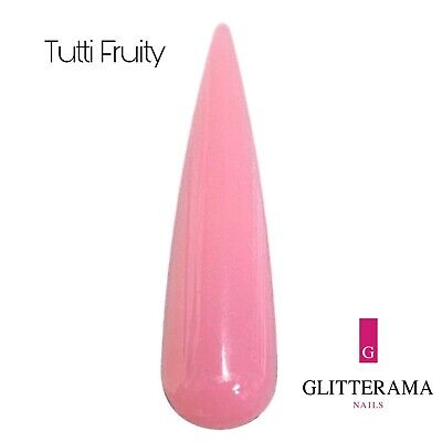 Pink coloured acrylic powder Glitterama 4g pot nail art tutti fruity
