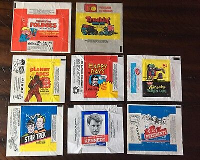 Collection of Eight Vintage Non-Sport Wax Wrappers; Kennedy, Star Trek + More!