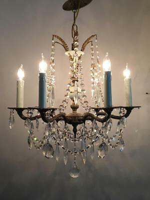 ANTIQUE VTG EMPIRE BRASS & WHT TOLE PETITE CHANDELIER w FRENCH & CZECH CRYSTALS