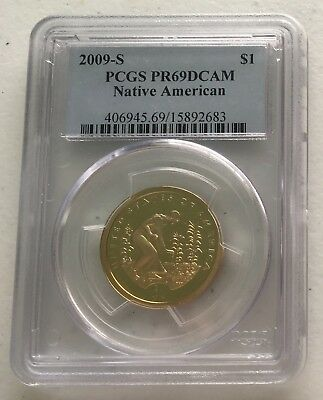 2009-S PR69 DCAM $1 Native American (Proof) Sacagawea Dollar Free Shipping.