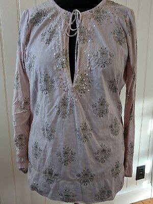 Old Navy Tunic Cotton pale pink gold sequins long sleeve lightweight sz L 12/14