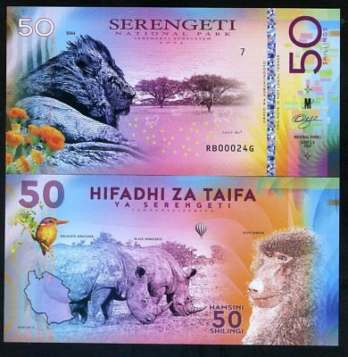 Tanzania, Serengeti National Park, 50 Shillings, Polymer, 2018 - Lion, Rhino
