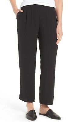 Eileen Fisher Silk Georgette Crepe Straight Ankle Pant in Black, Sz M, NWT