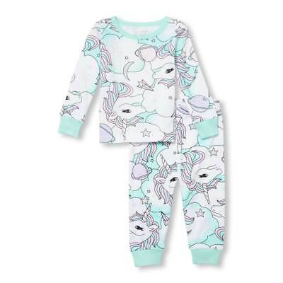 NWT The Children's Place Unicorn Girls Long Sleeve Blue Pajamas 2T 3T 4T 5T