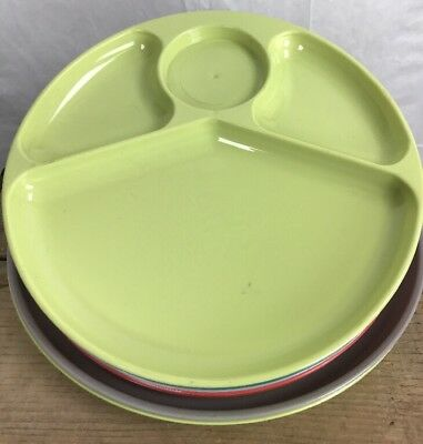8 Vtg Lustro Ware Divided Picnic Plates Mid Century modern coral teal gray lime